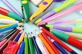 School stationery close-up background — Stock Photo