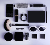 Essentials fashion woman objects on light background — Stock Photo