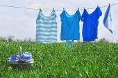 Laundry line with clothes in spring field — Stock Photo