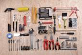 Set of tools on plywood, top view — Stock Photo