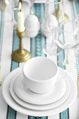 Beautiful table setting with vintage silverware — Stock Photo