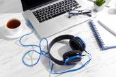 Workplace with headphones — Stock Photo