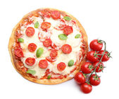 Delicious pizza with cheese and cherry tomatoes — Stock Photo