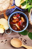 Apple jam in pail and fresh red apples — Stok fotoğraf