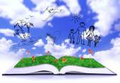 Open book with drawings on sky background — Stock Photo