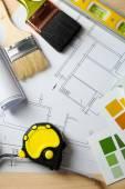 Строительные инструменты, план и щетки — Стоковое фото