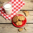 Homemade cookies and glass of milk — Stock Photo #75912159