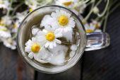Ромашковый чай с цветами ромашки — Стоковое фото