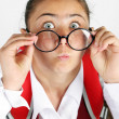 Beautiful little funny schoolgirl — Stock Photo #76227051