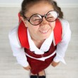 Beautiful little funny schoolgirl — Stock Photo #76227129