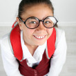 Beautiful little funny schoolgirl — Stock Photo #76227231