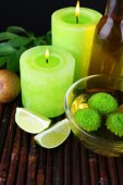 Spa still life in green color on bamboo mat, closeup — Stock Photo