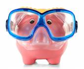 Piggy bank with mask for diving isolated on white — Stockfoto