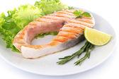 Tasty grilled salmon — Stock Photo