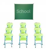 School blackboard, wooden desks and chairs isolated on white — Stock Photo