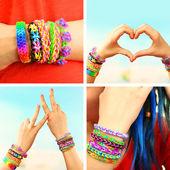 Mãos femininas com pulseiras — Fotografia Stock