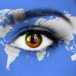 Human eye with map of world — Stock Photo #76530253