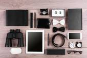 Set of black and white accessories on wooden table, top view — Stock Photo