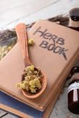 Różnych suszonych ziół i książek na stole z bliska — Zdjęcie stockowe