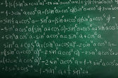 Math formulas on blackboard background — Stock Photo