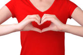 Girl with her hands in heart-shaped — Stock Photo