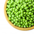 Fresh green peas in bowl isolated on white — Stock Photo #77016615