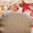 Collection of seashells with sand on sackcloth background — Stock Photo #77032189