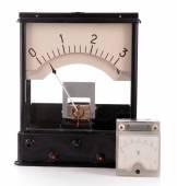 Vintage voltmeter isolated on white — Stock Photo