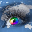 Human eye with map of world — Stock Photo #77193497