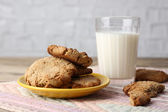 Homemade cookies and milk — Stock Photo