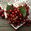 Sweet cherries with green leaves on plate, on wooden background — Stock Photo #77248610