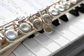 Flute and piano with music sheet close up — Stock Photo