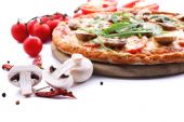 Tasty pizza with vegetables and arugula — Stock Photo