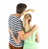 后面的观点的年轻夫妇上白色孤立 — 图库照片