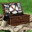 Wicker picnic basket, wine bottle and plaid on green grass, outdoors — Stock Photo #77708470