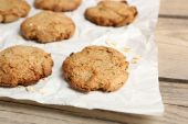 Homemade cookies on paper close up — Stock Photo