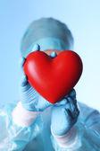 Dekoratif kalp mavi arka plan üzerinde tutan doktor — Stok fotoğraf