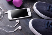 Mobile phone and earphones — Stock Photo