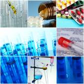 Collage of scientific elements in laboratory — Stock Photo