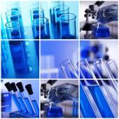 Colagem de elementos científicos em laboratório — Fotografia Stock