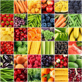 Collage with tasty fruits and vegetables — Stock Photo