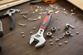 Workplace with construction tools close up — Stock Photo