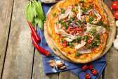 Tasty pizza with vegetables on table close up — Stock Photo