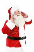 Santa Claus with headphones listening to music, isolated on white background — Stock Photo