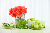Colorful table settings — Stock Photo