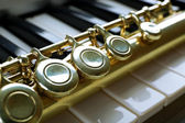 Flute and piano close up — Stock Photo