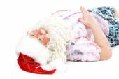 Santa Claus resting on vacation, isolated on white — Stock Photo