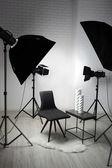 Photo studio with modern interior and lighting equipment — Stock Photo