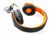 Orange headphones isolated on white — Stock Photo