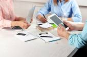 Work process of business meeting with electronic devices in office — Stock Photo
